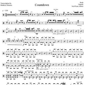 Countdown - Rush - Full Drum Transcription / Drum Sheet Music - Drumm Transcriptions