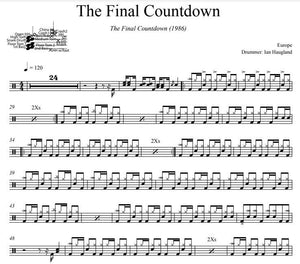 The Final Countdown - Europe - Full Drum Transcription / Drum Sheet Music - DrumSetSheetMusic.com