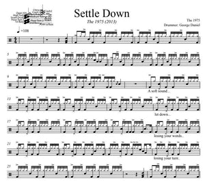 Settle Down - The 1975 - Full Drum Transcription / Drum Sheet Music - DrumSetSheetMusic.com