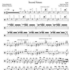 Second Nature - Rush - Collection of Drum Transcriptions / Drum Sheet Music - Drumm Transcriptions