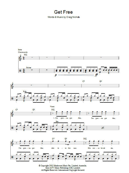 Get Free - The Vines - Full Drum Transcription / Drum Sheet Music - SheetMusicDirect D