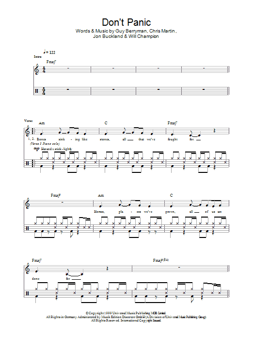 Don't Panic - Coldplay - Full Drum Transcription / Drum Sheet Music - SheetMusicDirect D
