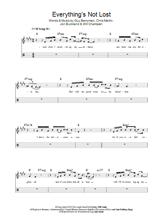 Everything's Not Lost - Coldplay - Full Drum Transcription / Drum Sheet Music - SheetMusicDirect D