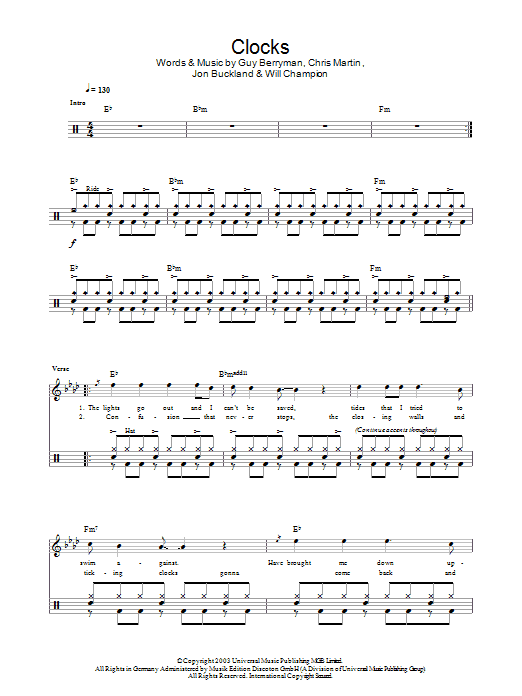 Clocks - Coldplay - Full Drum Transcription / Drum Sheet Music - SheetMusicDirect D