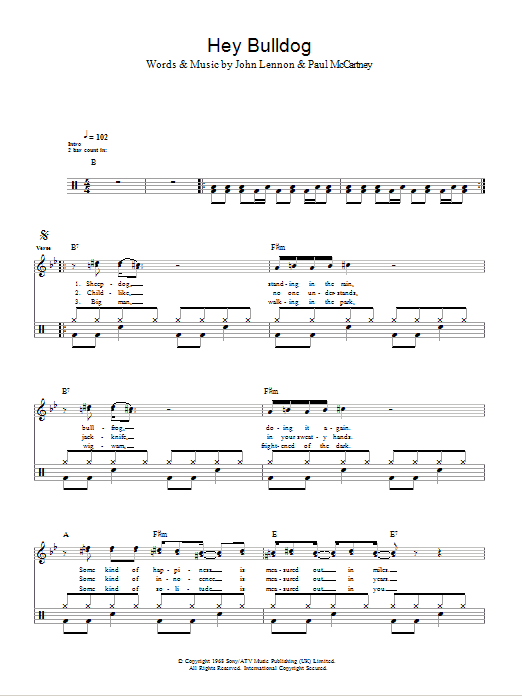 Hey Bulldog - The Beatles - Full Drum Transcription / Drum Sheet Music - SheetMusicDirect D