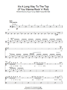 It's A Long Way To The Top (If You Wanna Rock 'N' Roll) - AC/DC - Full Drum Transcription / Drum Sheet Music - SheetMusicDirect D