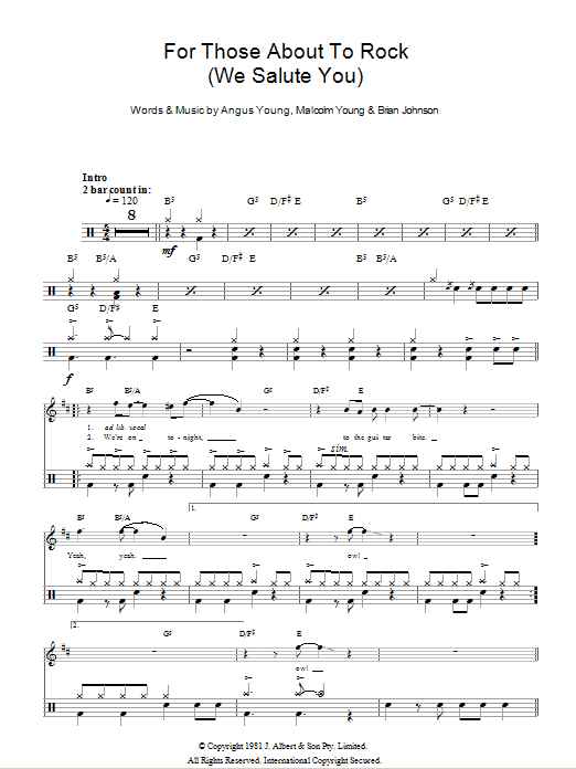 For Those About To Rock (We Salute You) - AC/DC - Full Drum Transcription / Drum Sheet Music - SheetMusicDirect D