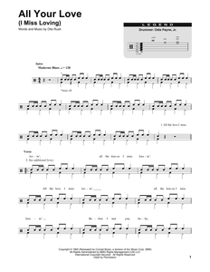 All Your Love (I Miss Loving) - Eric Clapton - Full Drum Transcription / Drum Sheet Music - SheetMusicDirect DT