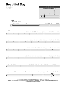 Beautiful Day - U2 (The Band) - Full Drum Transcription / Drum Sheet Music - SheetMusicDirect DT