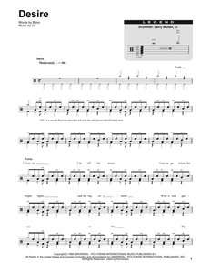 Desire - U2 (The Band) - Full Drum Transcription / Drum Sheet Music - SheetMusicDirect DT