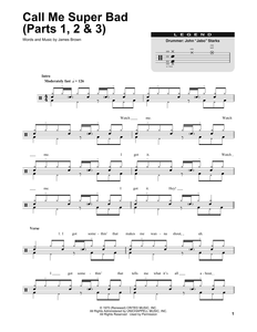 Call Me Super Bad (Parts 1, 2 & 3) - James Brown - Full Drum Transcription / Drum Sheet Music - SheetMusicDirect DT