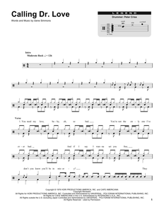 Calling Dr. Love - Kiss - Full Drum Transcription / Drum Sheet Music - SheetMusicDirect DT