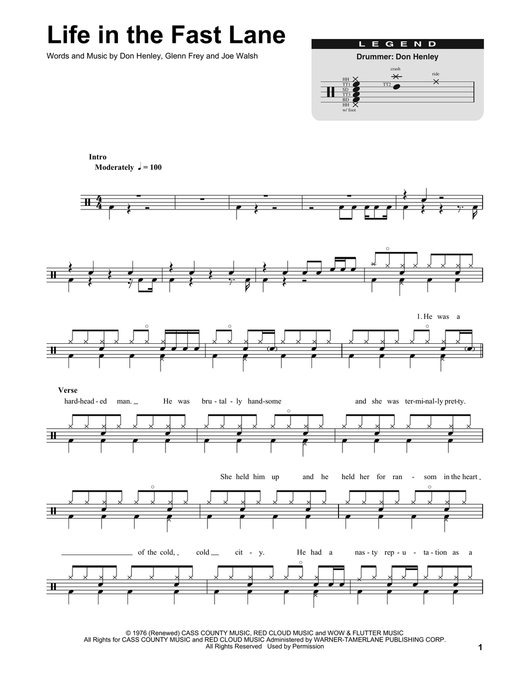 Life In The Fast Lane - Eagles - Full Drum Transcription / Drum Sheet Music - SheetMusicDirect DT174759