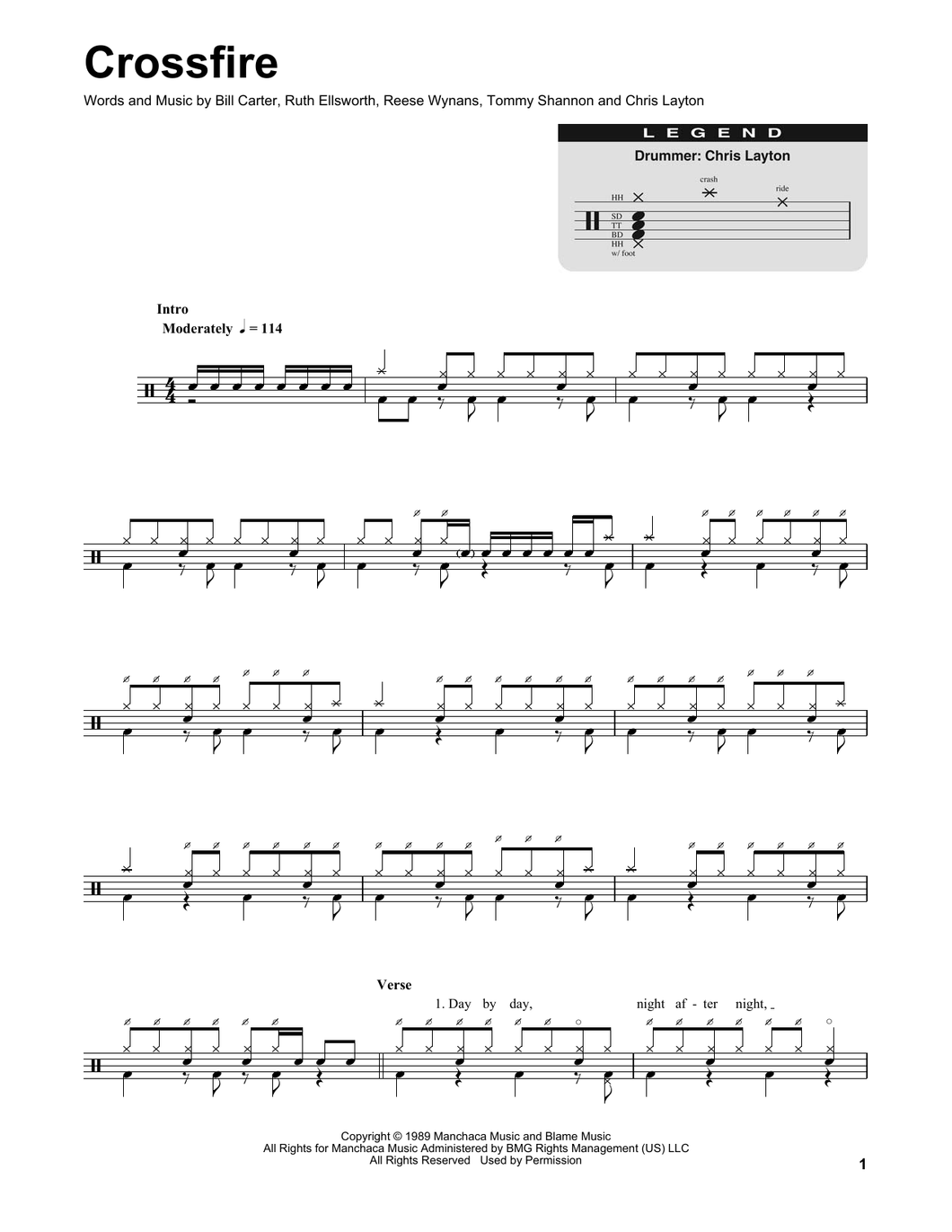 Crossfire - Stevie Ray Vaughan - Full Drum Transcription / Drum Sheet Music - SheetMusicDirect DT170264