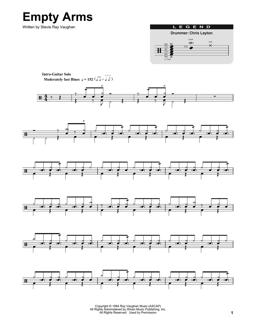 Empty Arms - Stevie Ray Vaughan - Full Drum Transcription / Drum Sheet Music - SheetMusicDirect DT