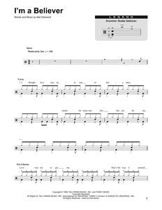 I'm A Believer - The Monkees - Full Drum Transcription / Drum Sheet Music - SheetMusicDirect DT175008
