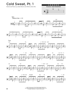 Cold Sweat, Pt. 1 - James Brown - Full Drum Transcription / Drum Sheet Music - SheetMusicDirect DT176328
