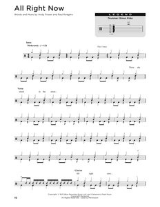 All Right Now - Free - Full Drum Transcription / Drum Sheet Music - SheetMusicDirect DT176312