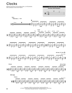 Clocks - Coldplay - Full Drum Transcription / Drum Sheet Music - SheetMusicDirect DT