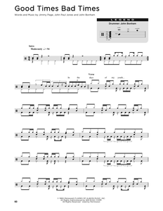Good Times Bad Times - Led Zeppelin - Full Drum Transcription / Drum Sheet Music - SheetMusicDirect DT