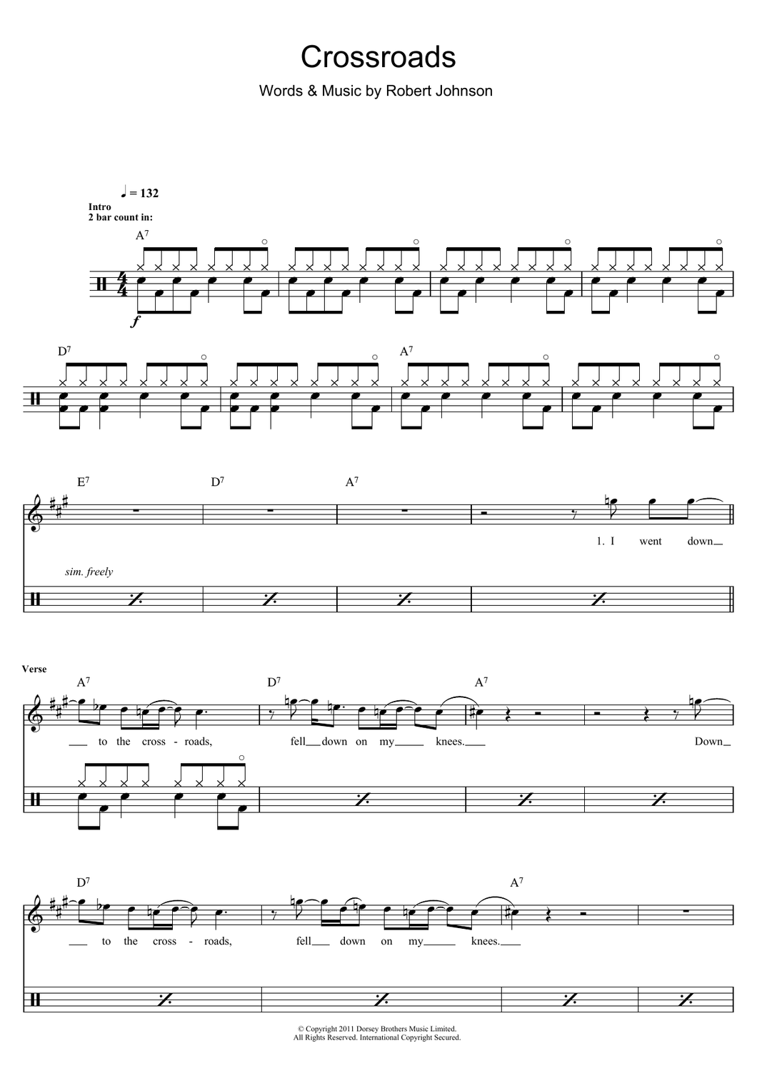Crossroads - Cream - Full Drum Transcription / Drum Sheet Music - SheetMusicDirect D