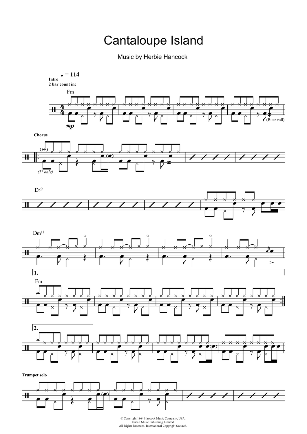 Cantaloupe Island - Herbie Hancock - Full Drum Transcription / Drum Sheet Music - SheetMusicDirect D