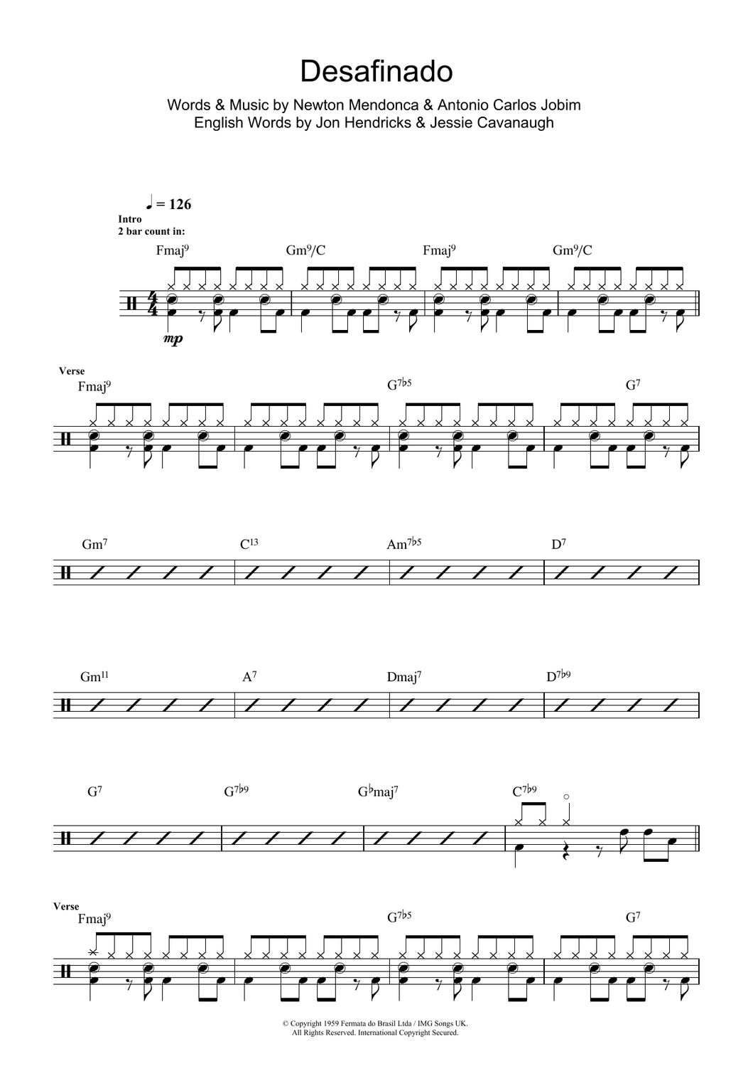 Desafinado (Slightly Out Of Tune) - Antonio Carlos Jobim - Full Drum Transcription / Drum Sheet Music - SheetMusicDirect D