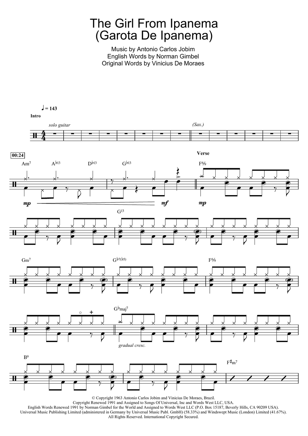 The Girl From Ipanema (Garota De Ipanema) - Antonio Carlos Jobim - Full Drum Transcription / Drum Sheet Music - SheetMusicDirect D