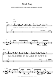 Black Dog - Led Zeppelin - Full Drum Transcription / Drum Sheet Music - SheetMusicDirect D