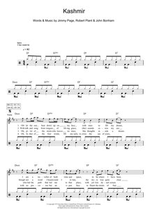 Kashmir - Led Zeppelin - Full Drum Transcription / Drum Sheet Music - SheetMusicDirect D