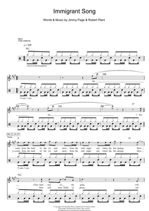Immigrant Song - Led Zeppelin - Full Drum Transcription / Drum Sheet Music - SheetMusicDirect D