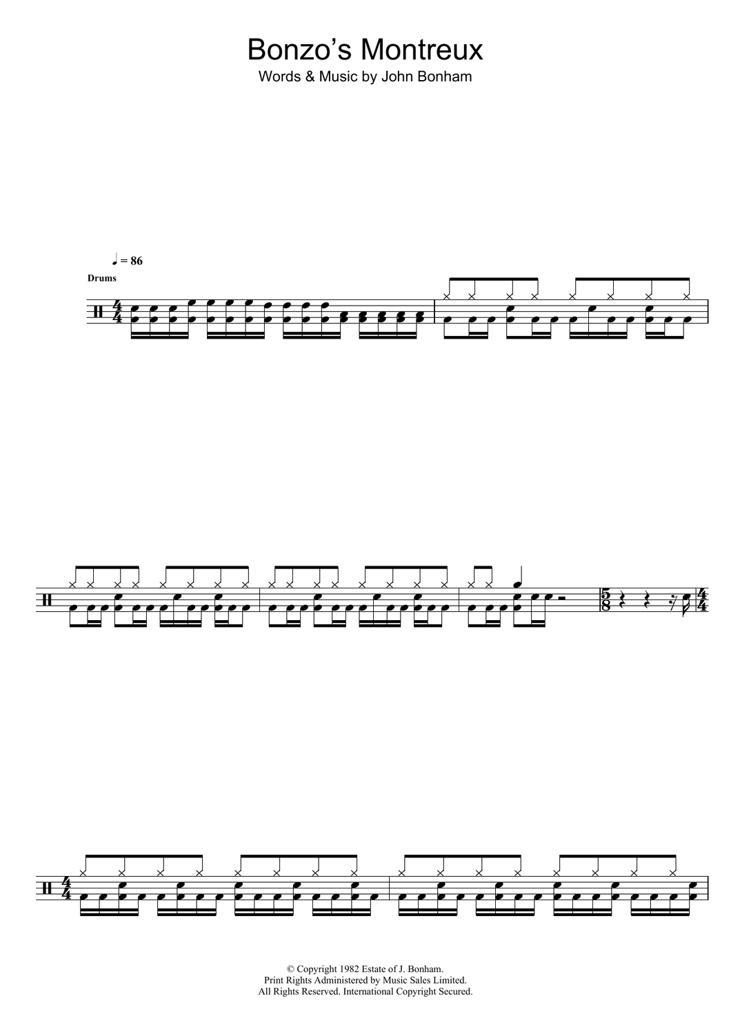 Bonzo's Montreux - Led Zeppelin - Full Drum Transcription / Drum Sheet Music - SheetMusicDirect D