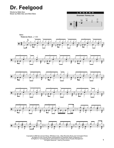 Dr. Feelgood - Motley Crue - Full Drum Transcription / Drum Sheet Music - SheetMusicDirect DT