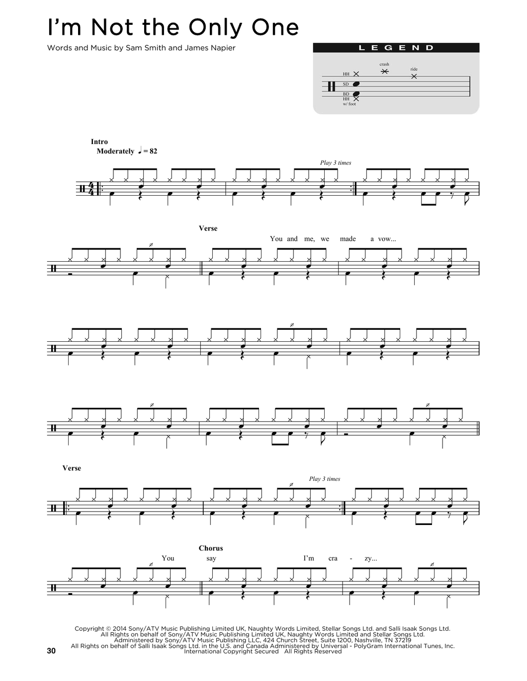 I'm Not The Only One - Sam Smith - Full Drum Transcription / Drum Sheet Music - SheetMusicDirect D