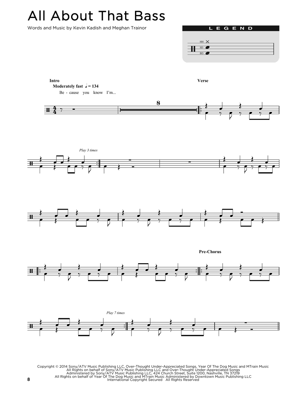 All About That Bass - Meghan Trainor - Full Drum Transcription / Drum Sheet Music - SheetMusicDirect D