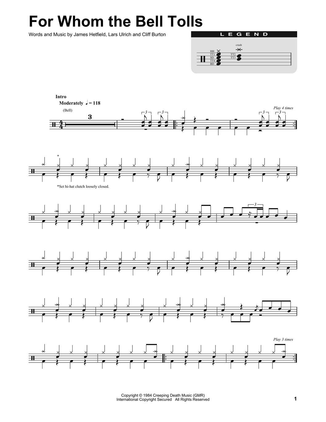 For Whom The Bell Tolls - Metallica - Full Drum Transcription / Drum Sheet Music - SheetMusicDirect DT