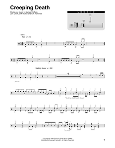 Creeping Death - Metallica - Full Drum Transcription / Drum Sheet Music - SheetMusicDirect DT