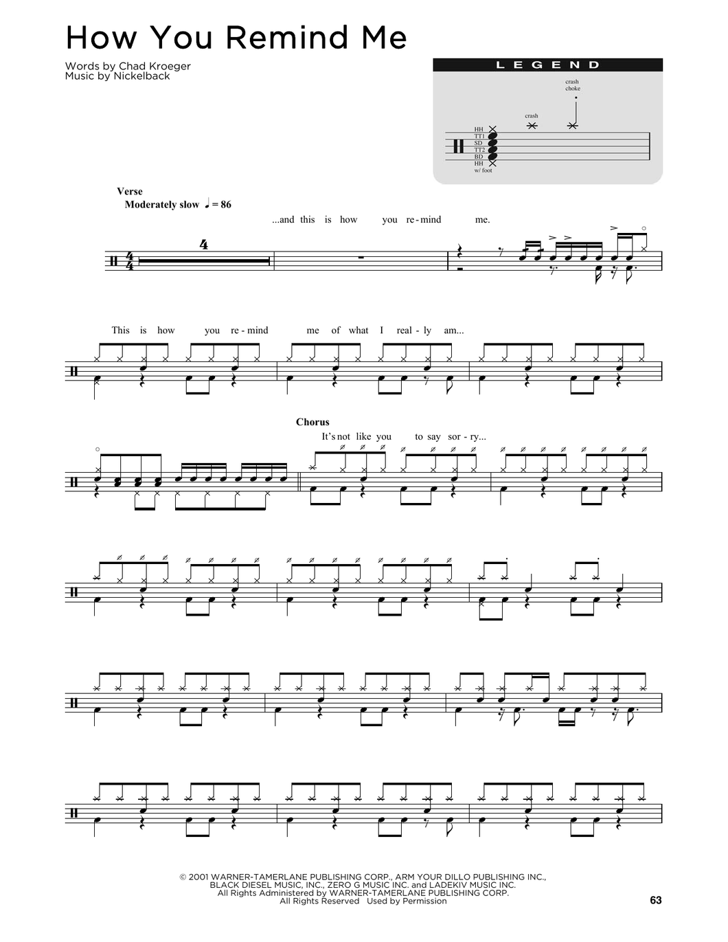 How You Remind Me - Nickelback - Full Drum Transcription / Drum Sheet Music - SheetMusicDirect D