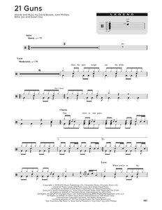 21 Guns - Green Day - Full Drum Transcription / Drum Sheet Music - SheetMusicDirect D