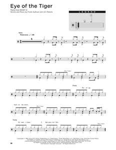 Eye Of The Tiger - Survivor - Full Drum Transcription / Drum Sheet Music - SheetMusicDirect D