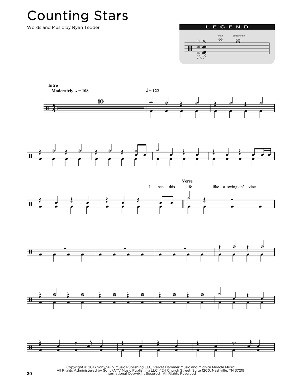 Counting Stars - OneRepublic - Full Drum Transcription / Drum Sheet Music - SheetMusicDirect D