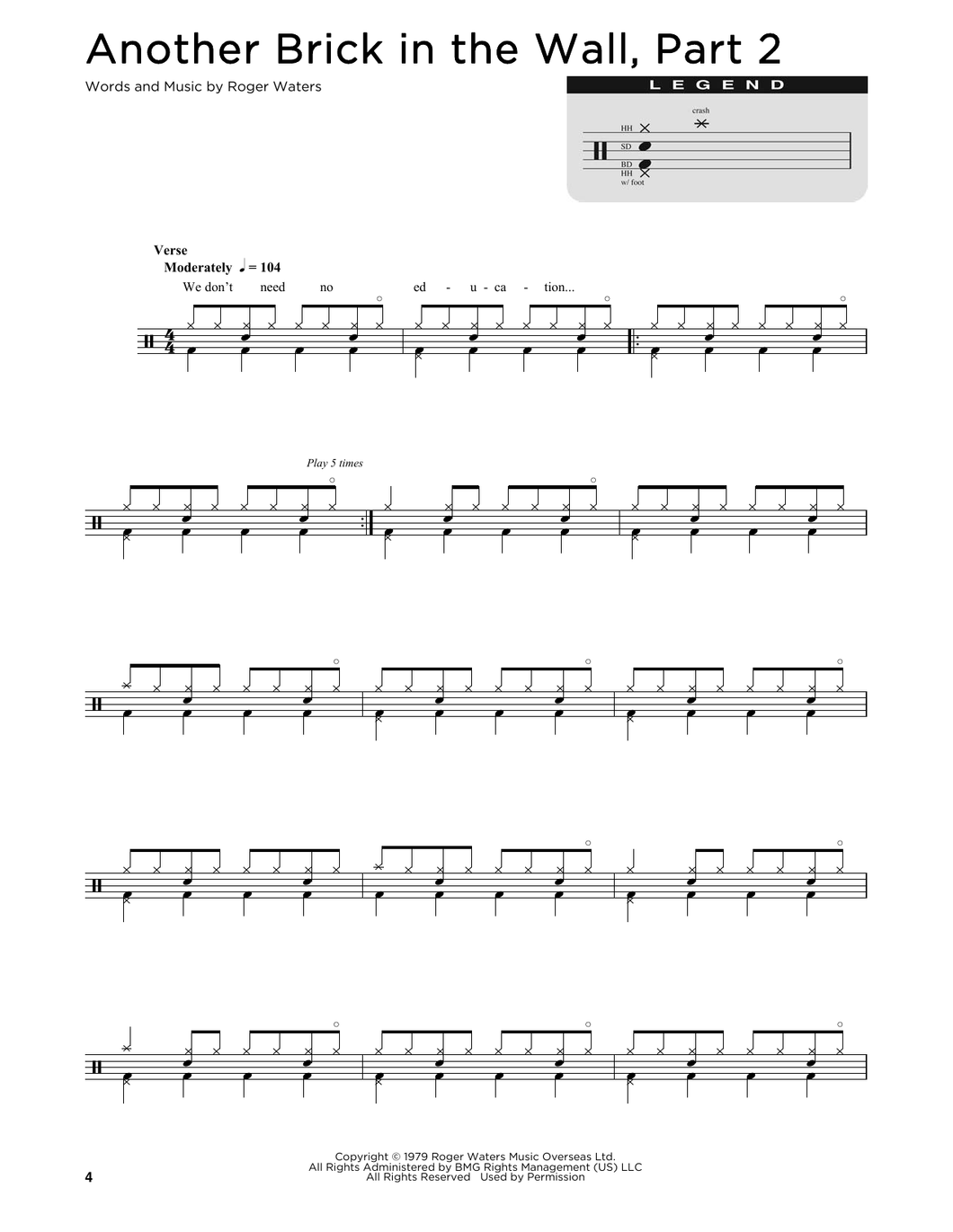 Another Brick In The Wall, Part 2 - Pink Floyd - Full Drum Transcription / Drum Sheet Music - SheetMusicDirect D
