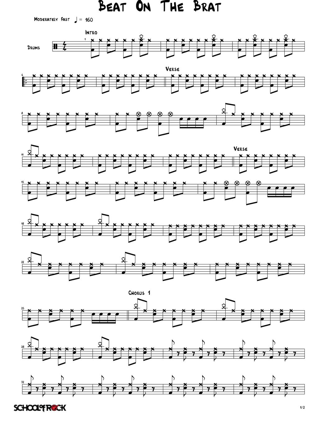 Beat On The Brat - The Ramones - Full Drum Transcription / Drum Sheet Music - SheetMusicDirect SORD