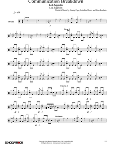 Communication Breakdown - Led Zeppelin - Full Drum Transcription / Drum Sheet Music - SheetMusicDirect SORD