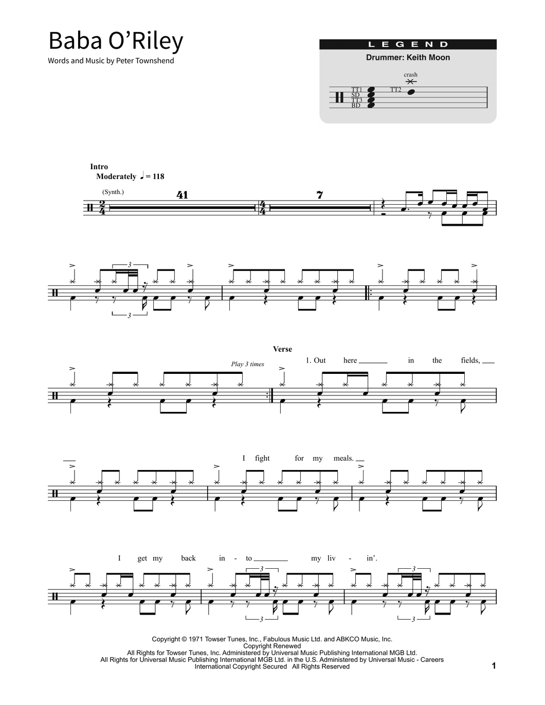 Baba O'Riley - The Who - Full Drum Transcription / Drum Sheet Music - SheetMusicDirect SORD