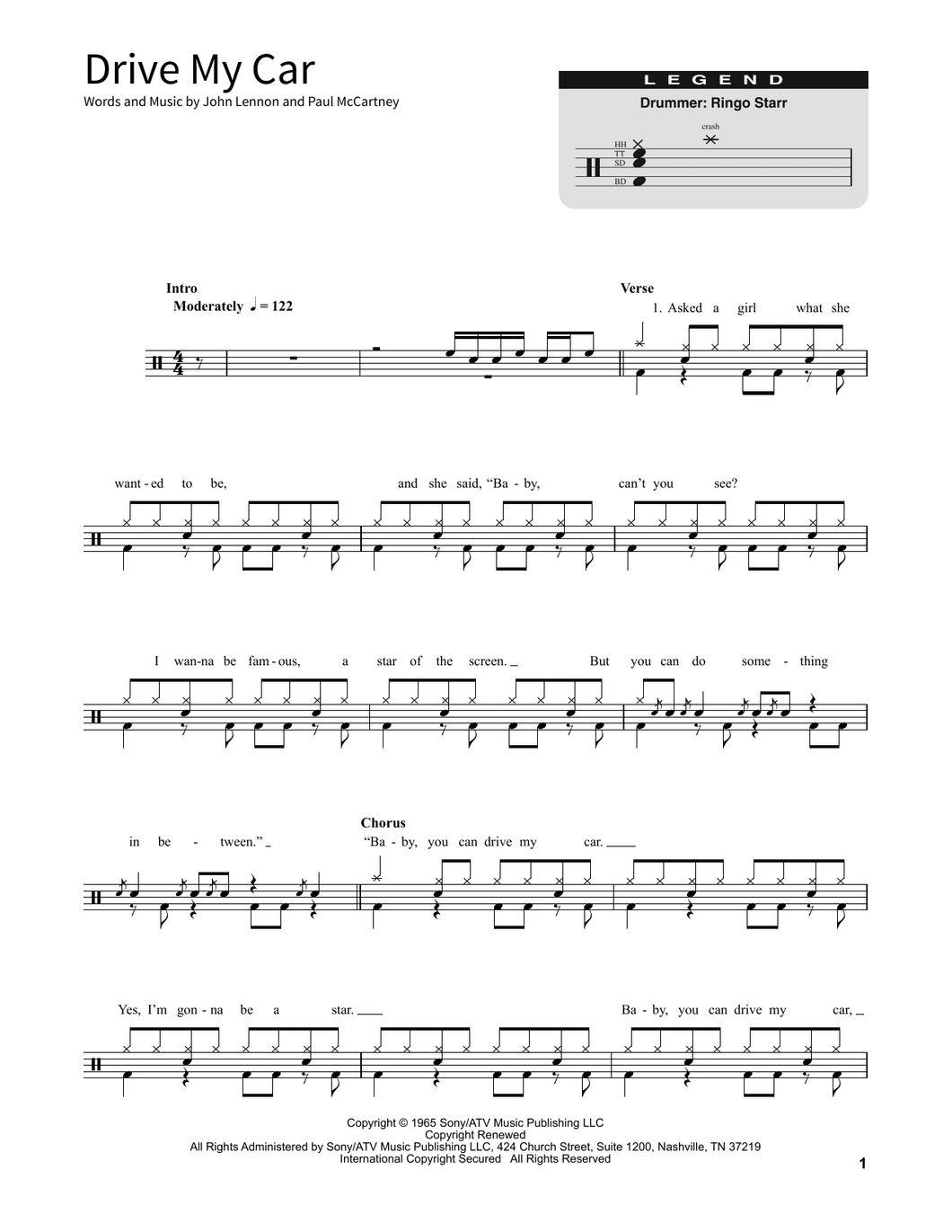 Drive My Car - The Beatles - Full Drum Transcription / Drum Sheet Music - SheetMusicDirect SORD