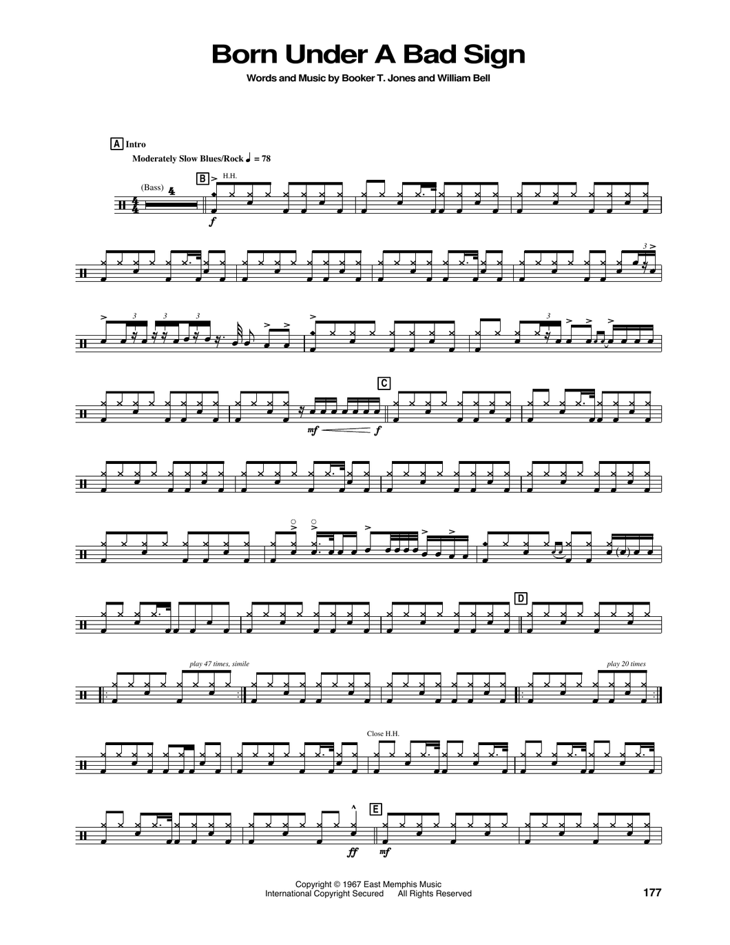 Born Under A Bad Sign - Albert King - Full Drum Transcription / Drum Sheet Music - SheetMusicDirect DT