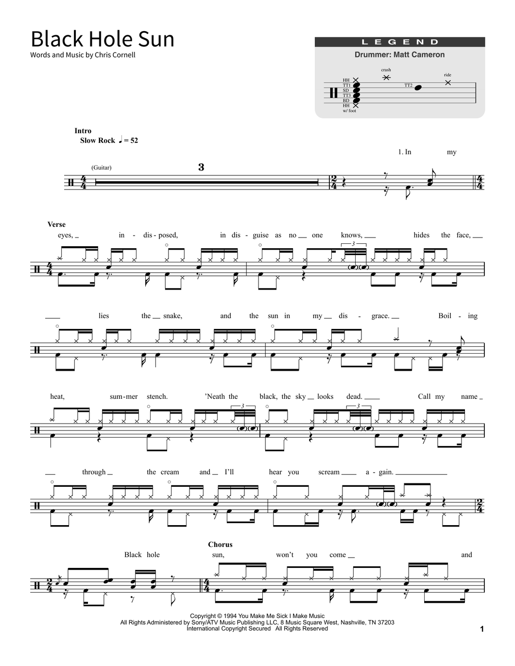 Black Hole Sun - Soundgarden - Full Drum Transcription / Drum Sheet Music - SheetMusicDirect SORD