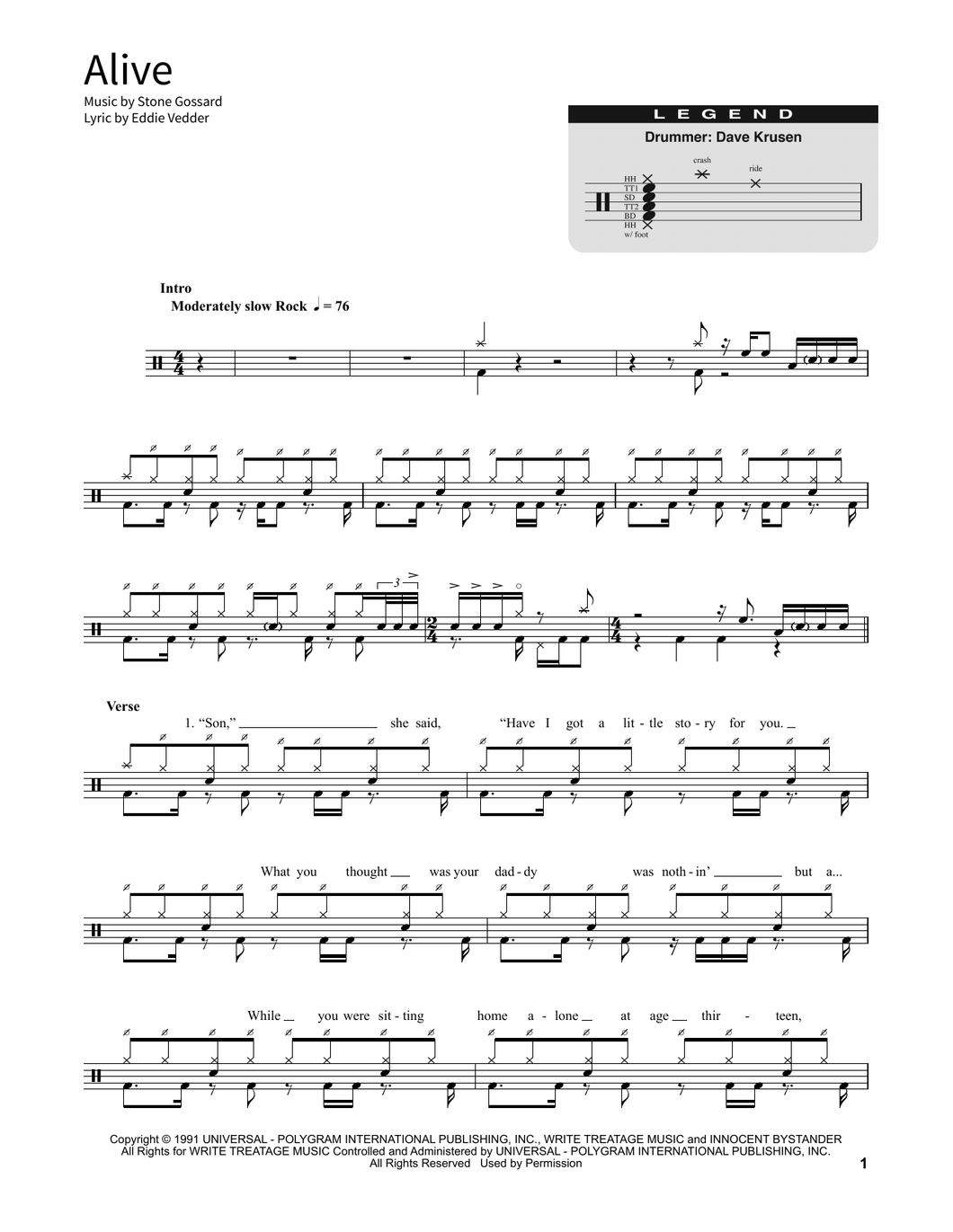 Alive - Pearl Jam - Full Drum Transcription / Drum Sheet Music - SheetMusicDirect SORD