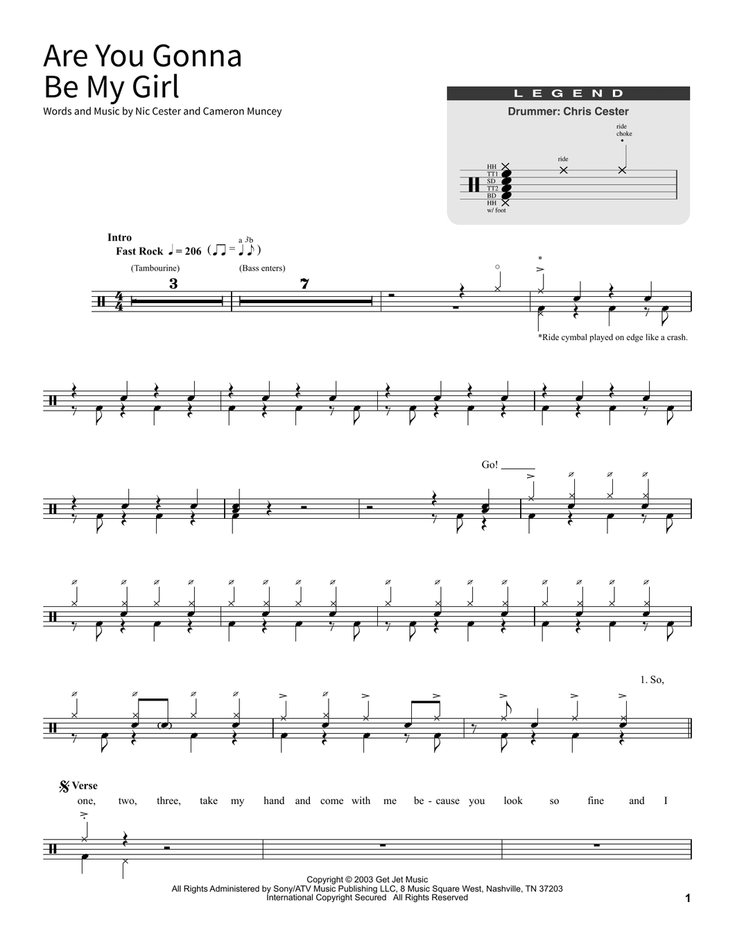 Are You Gonna Be My Girl - Jet - Full Drum Transcription / Drum Sheet Music - SheetMusicDirect SORD